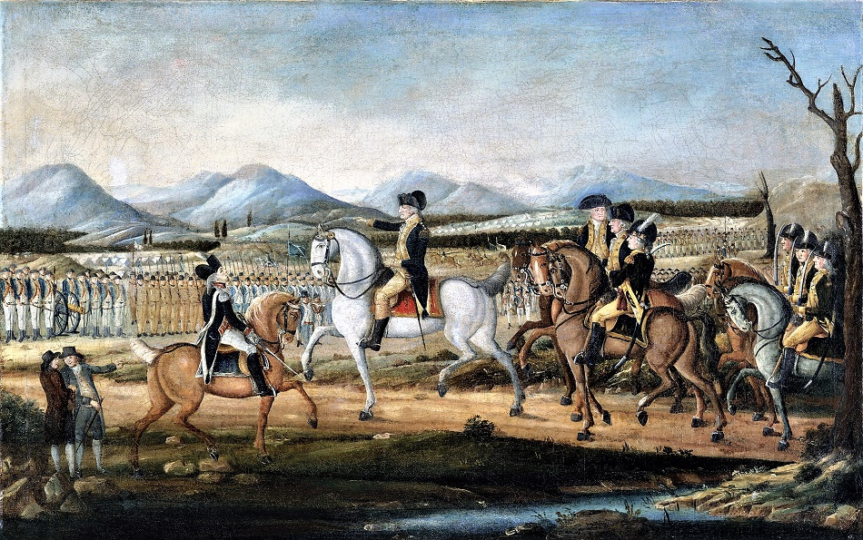 1a Washington Reviewing the Western Army, at Fort Cumberland, Maryland, after 1795 attributed to Frederick Kemmelmeyer (German-born American artist, c.1755-1821)